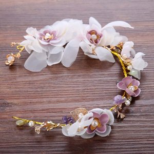 Romantic Silk Flower Bridal Hairstyle Beautiful Dress The Bride Wedding Hair Accessories Queen Party Prom Pink Flower Jewelry