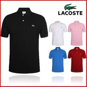 Hombres camiseta de manga corta Europea de la camiseta del polo de verano con cuello bordado de algodón redonda para los hombres S-6XL Lacoste