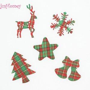 300pcs lot Scottish Check Tartan Fabric Christmas Appliques Reindeer Snowflake Star Xmas Tree Jingle Bell Applique Embellishment