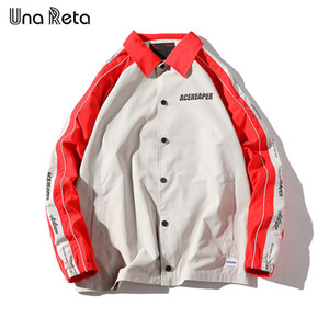 Una Reta Jacket Mens New Arrivals Hip Hop Impressão costura Coaches casuais Outwear Moda Brasão Jackets Men Streetwear