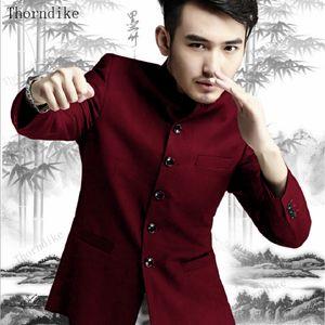 Thorndike 2020 Chinese Kongfu stand in stile collare bordeaux vestito maschio nozze sposo Slim Fit Blazer Set smoking (Jacket + Pant)