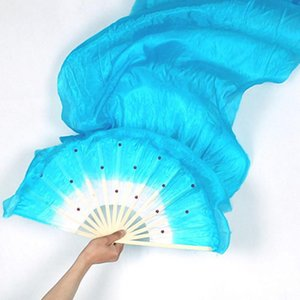 5pcs Hand Made Colorful Belly Dance Dancing Silk Bamboo Long Fans Veils X