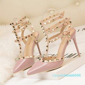 Новый из римской моды сандалии изящных высоких каблуках тонкие каблуки яркий spikesWestern стиль ночной лаковая кожа металл заклепки c09 L16