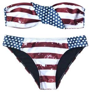 Trajes bandera americana patriótica Bikini palabra de honor reversible de impresión traje de baño Biquini bañadores empujan hacia arriba traje de baño a rayas Para Mujeres