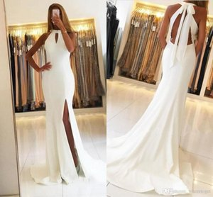 2020 Pure White Mermaid Prom Dresses Halter Backless Floor Length Split Prom Gowns Formal Evening Party Wear
