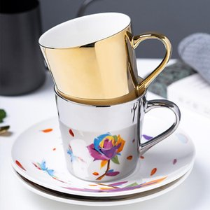 Light Luxury European New Design Gold And Silver Mug Ceramic Coffee Mug Tea Milk Cup And Spoon Mirror Cup Porcelain As Gift Bar T200506