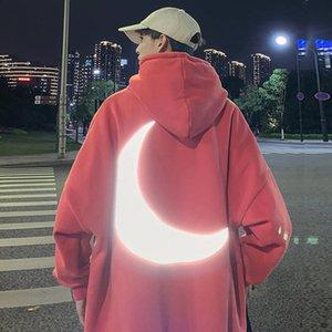 Moon Reflective Hoodies Loose Men's Sweatshirt Orange Autumn Winter Sweatshirts Men Streetwear Cool Japan Hoodies Funny Male T200713