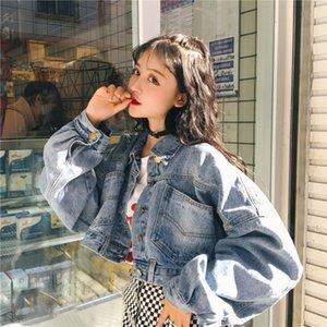 clip de la capa de la chaqueta de la manga de las mujeres clip de nfuFt dril de algodón flojo del estilo de Corea del abrigo corto de las mujeres de la chaqueta de estilo Hong Kong manga del palo 2019 otoño y el triunfo