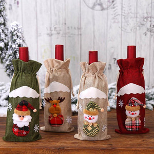 Christmas Stockings Santa Claus Wine Bottle Cover Bags Christmas Decoration Dining Table Bottle Bag Party Supplies