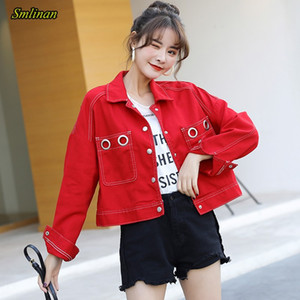 Smlinan Harajuku High Street Streetwear Denim Jacket Women Single Breasted Short Cowboy Jackets Black White Jenas Coat Female