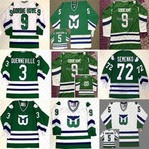 # 5 ULF SAMUELSSON 9 GORDIE HOWE Joel Quenneville Dave Semenko Hartford Whalers Het Hockey Jersey cosido Cualquier Número y Nombre Jerseys