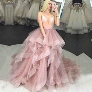 Blush Pink Prom Dress Spaghetti Strap Flowers Tulle Ruffles Evening Gown Girl Party Dress for Graduation Custom Made 2020