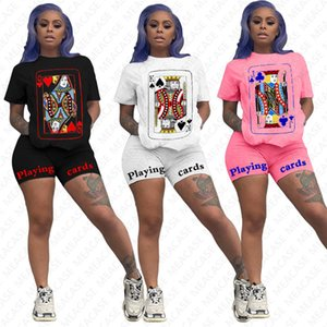 2020 Women Tracksuit Cartoon Designer Shorts Set Short Sleeve Tees Top Tshirt Shorts Two pieces Outfits Trendy Sports Suit Clothes Set D7611