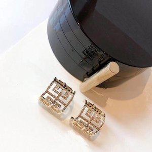 C2005 Women's geometric ear stud with individual half circle stud earrings of refined brass 925 silver needle temperament earrings