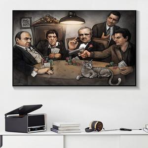 Modern Tuval Salon Wall Art Picture poker Poster Çalma Büyük Chris Sanat Gangsterler By Gangers Sanat Print Boyama