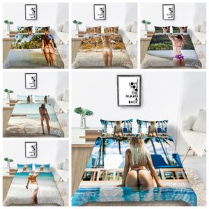 Hot Sale 3D Printing Beach Bikini Sexy Girls bedding Sets Duvet Cover Sets Soft For Girls Boys Adult