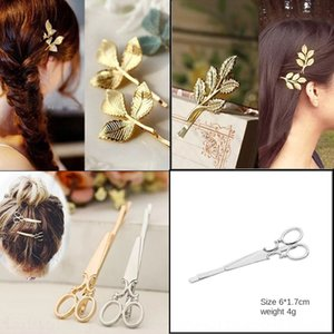Hair leaf hairpin children's hairpin one-character clip women's Accessories Scissors Scissors side clip accessories gifts