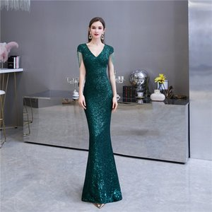 New Style Deep Green Sequins Prom Gown Cap Sleeve Mermaid Evening Dress robe de soiree Custom Made