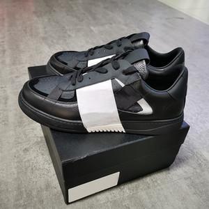 Para mujer para hombre de piel de becerro VL7N Plataforma zapatilla de deporte de los zapatos blancos de gran tamaño Espárragos plana reflectante Trainer real zapatos ocasionales del cuero con la caja