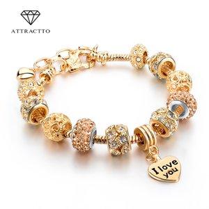 ATTRACTTO Hot Selling Heart Charm Bracelets&Bangles Gold Bracelets For Women Pulsera Jewellery Bracelet SBR150074