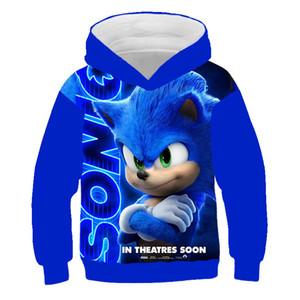 Sonic the Hedgehog Hoodie 3D Brasão Camisolas para crianças 3D Hoodies capuz Casacos com capuz meninos meninas Fatos Streetwear Y200724