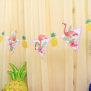 String Of Flags Atmosphere Arrangement Party Decorate Banner White Cardboard Pineapple Flamingo Pennant Factory Direct Selling 2 88sh p1