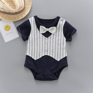 Infant jumpsuit romper 2020 spring and summer children's clothing boy baby short-sleeved striped vest bow triangle khaki
