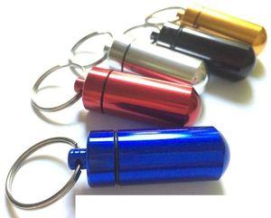 Travel Aluminum Alloy Waterproof Pill Box Case Keyring Key Chain Medicine Storage Organizer Bottle Holder Container Keychain