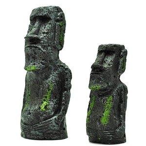 수지 인공 수족관 이스터 섬 동상 장식 수중 조경 공예 장식품 물고기 탱크 부활절 장식
