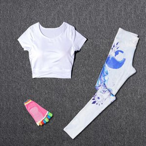 Women Sport Suit Yoga Fitness Sets Sport Wear Running Leggings T-shirt+Yoga socks+ Workout Gym Pants 3Pcs set Sportswear