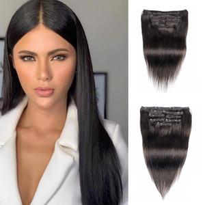KISSHAIR clip couleur naturelle en extension de cheveux 7 pièces / set cheveux humain droit brésilien remy pince 14-24inch sur l'extension de cheveux