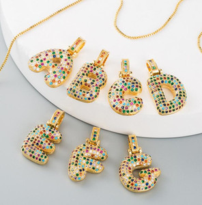 2020 Colorful Zircon Letter A-Z Crystal Choker Pendant Chain Necklace Yellow Gold Fashion Women Alphabet Party Jewelry With Chain