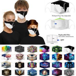 Многоразовая Женщина Мужчины Дети 3d Fun Защитные Роты маски Марк Ткань маска для лица моющегося Hip Hop Party Волшебного DHL свободного корабля