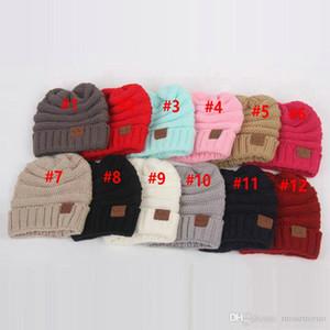 Çocuklar Kış Örme Beanies Bebek Şapka Bere Skully Şapkalar 12 renk DHL Şapka Örme CC Şapka Etiket Çocuk Chunky Gerdirilebilir çocukları Isınma