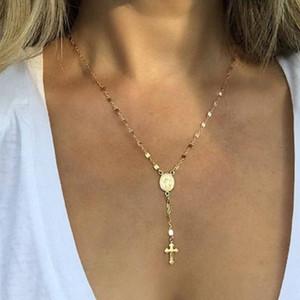 2018 Мода ожерелье Девы Марии Мадонны овальной формы крест кулон золото посеребренные металлические цепи Леди девушки ожерелье