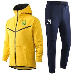 2020 pantalon veste de soccer FC Nantes costume formation 20 21 FC Nantes Hooded longue fixe de sport Survêtement football manches Survêtements hommes