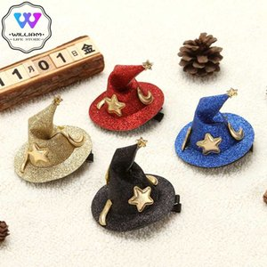 Cute Children Glitter Halloween Hairpins Mini Witch Hat Hair Clips Party Festival Headdress Halloween Cosplay Costume Props