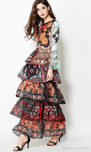 2020 girls and ladys fashion flare sleeve cake layers style dresses,party and festivel printing dress