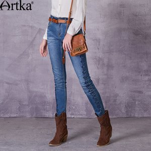 ARTKA Women's Autumn Monkey Wash Embroidery Jeans Vintage Mid-waist Straight Pattern All-match Jeans KN10078X CX200721