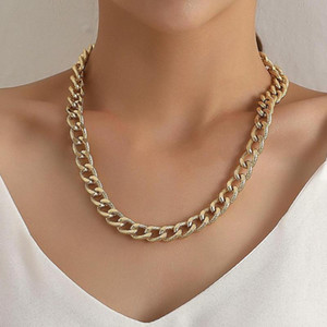 Punk Cuban Link Chain Choker Necklace for Women Charm Necklace Collares Jewelry HipHop Big Chunky Alloy Gold Color Thick Chain