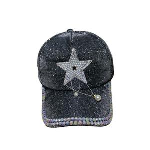 USA populäre Art und Weise reizende nette Perle Sterne Quaste Basebalball Kappen für Frau Hüte weibliche Mädchen Sonne Beweis