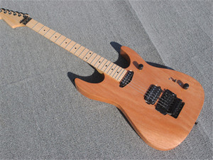 Natural Wood Color Electric Guitar with Mahogany body, Black Hardware ,offer customized