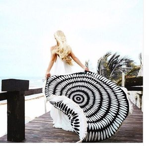 Hot sale thin round beach towel shawl towel yoga mat sunscreen shawl tassel wrap skirt