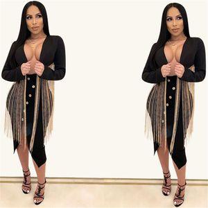 Tasarımcı Bayan Blazer Püskül Siyah İnce Uzun Kollu Bayan Blazers Casual Patchwork V Yaka Bayan Giyim