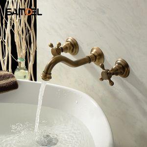 Оптом и в розницу Antique Brass ванны смесители 3 шт бассейна Двойные ручки горячей и холодной настенный кран бассейна BF1013