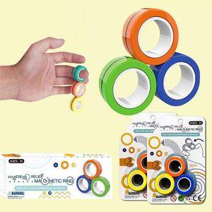Nouvelle bague magnétique Jouet Jouet Toy Anti-stress Fielfs Stress Reliver Reliver Finger Spinner Toys Anneaux Pour Adultes Enfants Christmas Cadeaux 3PCS / Set
