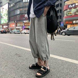 2020 printemps et en automne nouvelle jeunesse populaire Solide Couleur Pantalon en vrac faisceau de mode Casual Pants sauvages Wide Leg recadrées Gris / Noir