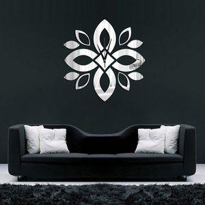 2020 Yeni DIY 3D Çiçek Mandala Duvar Saati Ev Modern Dekorasyon Kristal Ayna Salon DIY Duvar Sticker Saat