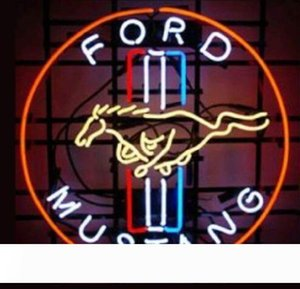 """مخصص جديد FORD MUSTANG ريال زجاج ضوء النيون البيرة بار تسجيل إرسال ضرورة صورة 19x15 """""""
