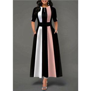 Plus Size Womens Vintage dell'oscillazione del vestito delle signore mezza del partito del manicotto del pattinatore Dresses UK poliestere lungo Rosa Giallo Viola Estate casuale
